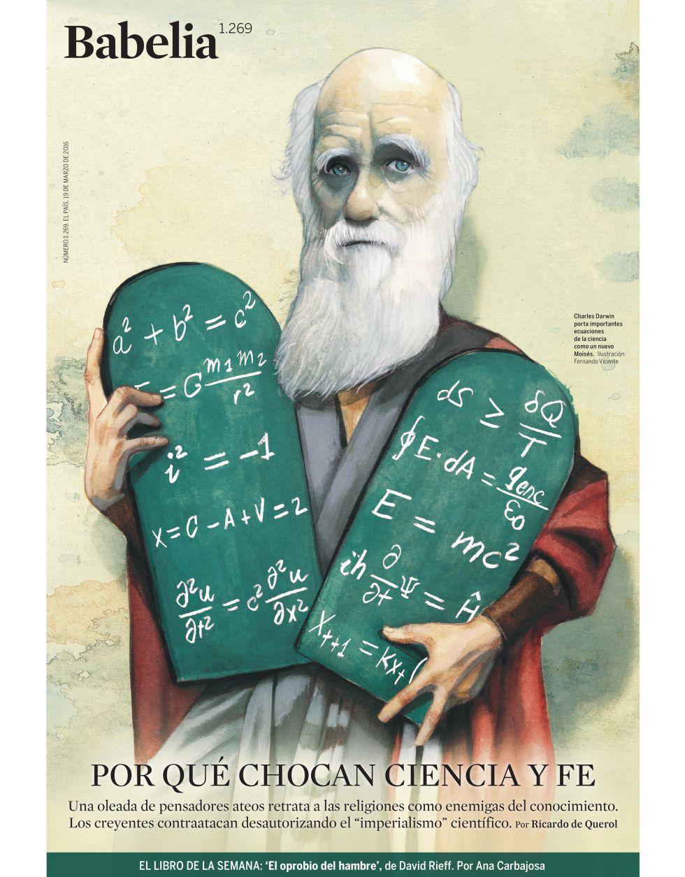 Charles Darwin porta ecuaciones de la ciencia como un nuevo Moisés.Ilustración: Fernando Vicente