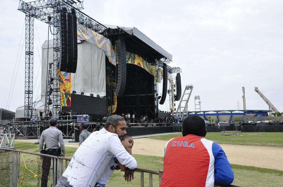 El escenario donde tocarán los Rolling Stones en Cuba.