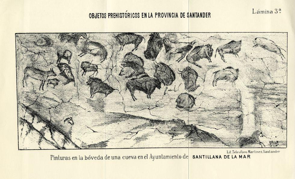 Dibujo de Altamira incluido en el libro de Sanz de Sautuola.