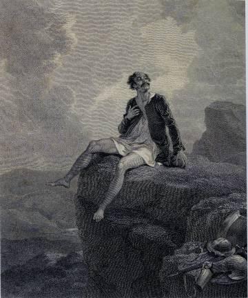 Don Quijote dibujado por Robert Smirke para una traducción inglesa de 1818. El pintor británico ilustró tanto la novela de Cervantes como los dramas de Shakespeare.