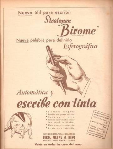Publicidad antigua de bolígrafos.