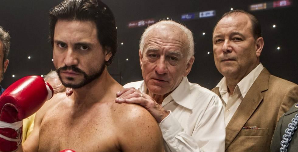 Imagen de la película 'Hand of stone', con Édgar Ramírez, Robert de Niro y Rubén Blades.