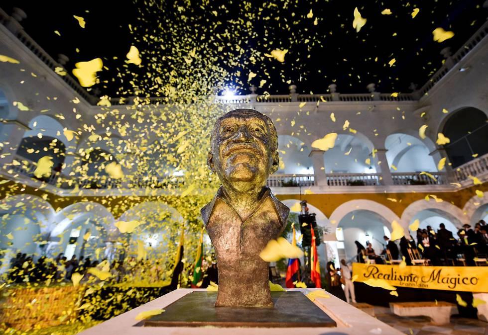 El busto de Gabriel Garcia Márquez en el monasterio de La Merced.