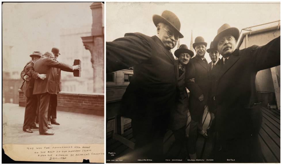Fotografíade 1920 en la terraza del estudio fotográfico Marceau. Primer 'selfie' de la historia.
