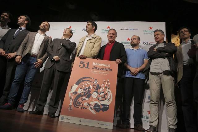 Responsables del Jazzaldia y autioridades, este viernes en la presentación del programa del festival donostiarra.