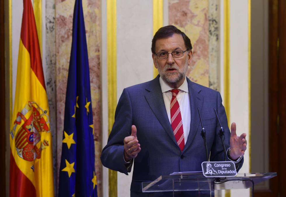 El presidente del Gobierno, Mariano Rajoy, hoy en la rueda de prensa del Congreso.