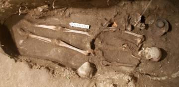 Esqueleto de la mujer de Tlailotacan, de 1.600 años, hallado en las excavaciones de Teotihuacán