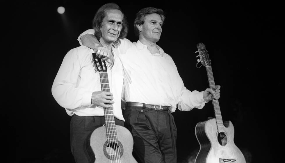 Paco de Lucía and John McLaughlin at the 1987 San Sebastián Jazz Festival