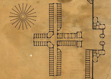 Plano de la prisión de Reading, dibujado en la oficina de los arquitectos George Gilbert Scott y William Bonython Moffatt cerca de 1842.rn