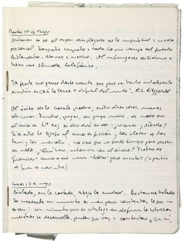 Una página de su dietario, expuesta en la muestra 'Fragmentos de un diario'.