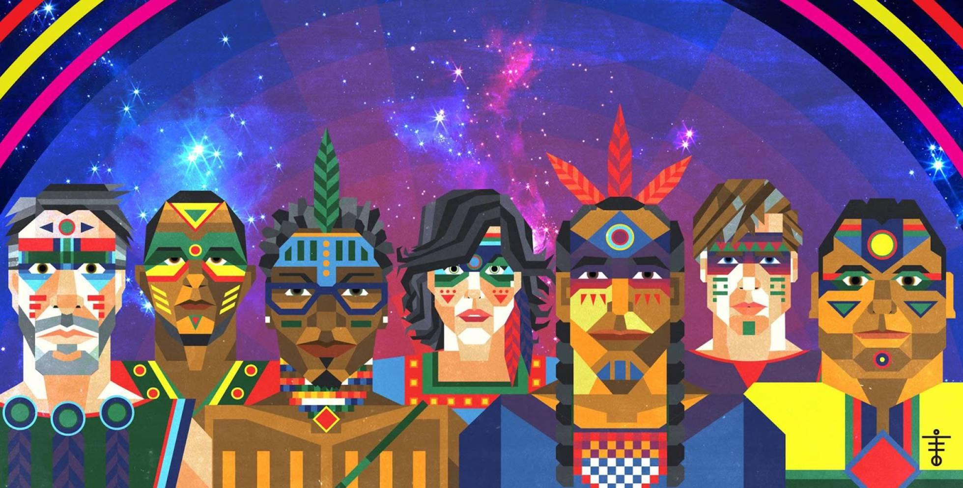 Foto promocional da banda Systema Solar, coletivo músico-visual da região do Caribe da Colômbia.