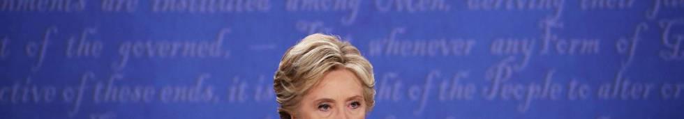 Clinton, antes del último debate con Trump.