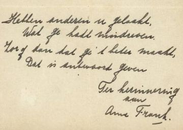 Vendido por 140.000 euros un poema manuscrito de Ana Frank