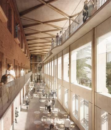 Simulación de la vista interior del nuevo atrio de la fachada Sur.
