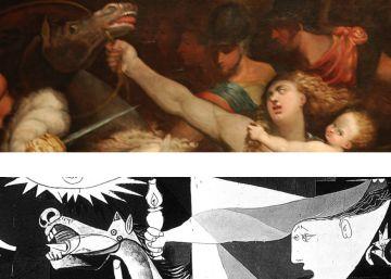 Comparativa de la obra de Mirola con el detalle del Guernica.