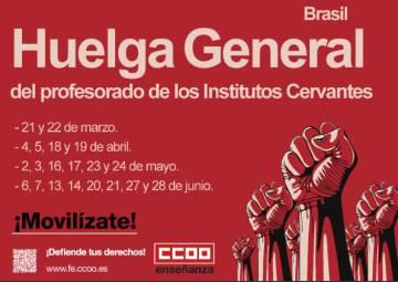Professores dos Institutos Cervantes do Brasil convocam 20 dias de greve