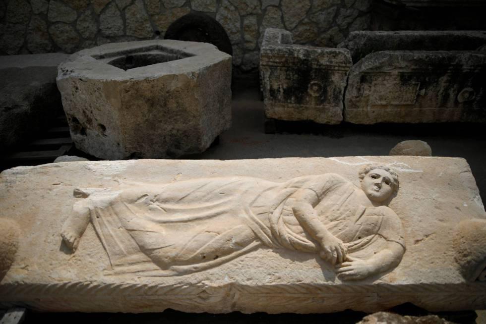 Um sarcófago do Depósito dos Tesouros Nacionais, em Israel.