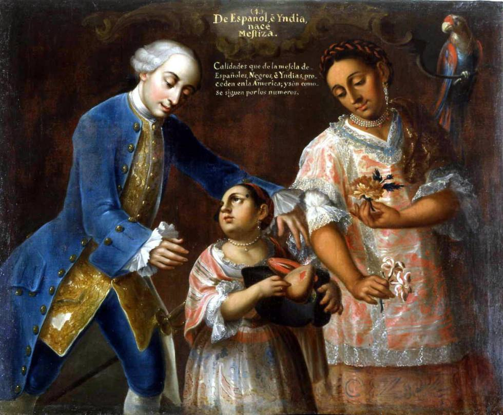 'De español e india nace mestiza', de José Joaquín Magón (segunda mitad del siglo XVIII).