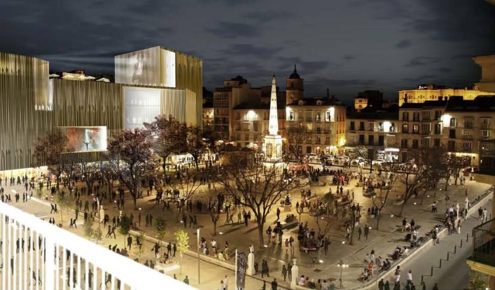 Recreación del proyecto de Antonio Banderas y el arquitecto José Seguí para los antiguos cines Astoria y Victoria, en la Plaza de la Merced.