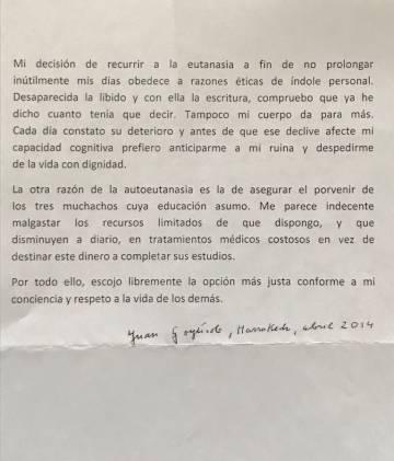 Carta del autor de 'Señas de identidad', firmada en abril de 2014, que empieza así: