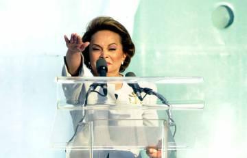 Elba Esther, secretaria general del PRI, en 2002.