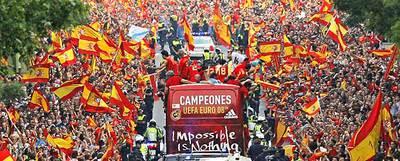 Celebración de la victoria de la selección de fútbol en la Eurocopa.