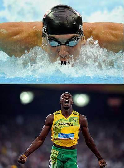 El nadador Michael Phelps y Usain Bolt.