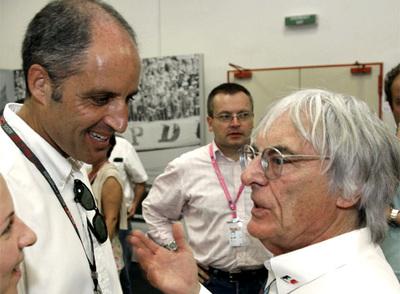 El presidente de la Generalitat y el patrón de la Fórmula 1, durante la sesión de clasificación del Gran Premio de Europa.