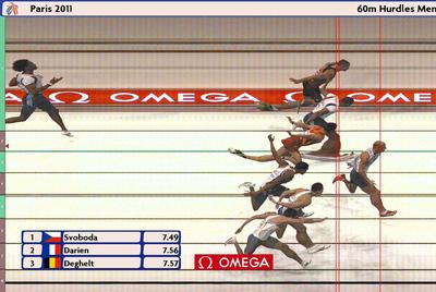 Foto Finish de la llegada de la final de la prueba de 60m vallas del Europeo de pista cubierta.