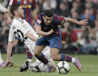 Pedro, en el clásico de la temporada pasada en el Bernabéu.