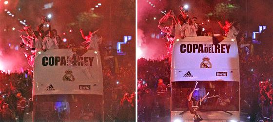 La Copa del Rey se precipita contra el suelo a escasos metros de la Cibeles tras resbalársele a Sergio Ramos.