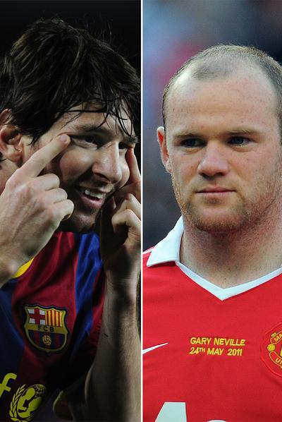 Leo Messi y Wayne Rooney.