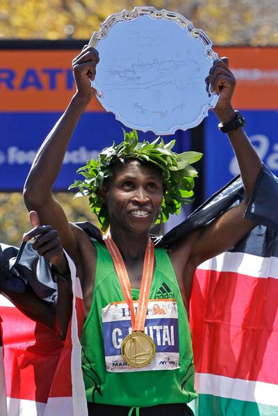 El keniano Geoffrey Mutai, tras ganar el maratón de Nueva York.
