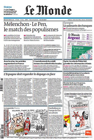 Primera página del diario Le Monde.