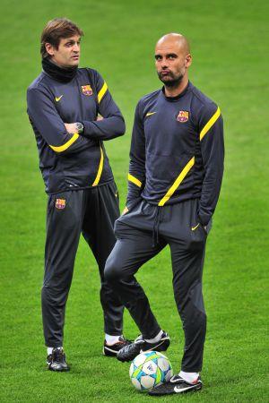 Vilanova y Guardiola, durante un entrenamiento de esta temporada.