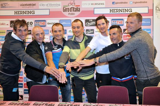 Roman Kreuziger, John Gadret, Michele Scarponi, Ivan Basso, Frank Schleck, Joaquin Rodriguez y Thor Hushovd