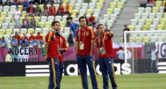 Cesc Fábregas, Sergio Busquets y Pedro