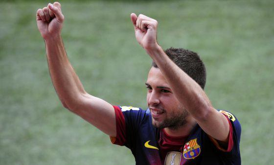 Jordi Alba durante su presentación con el Barcelona.