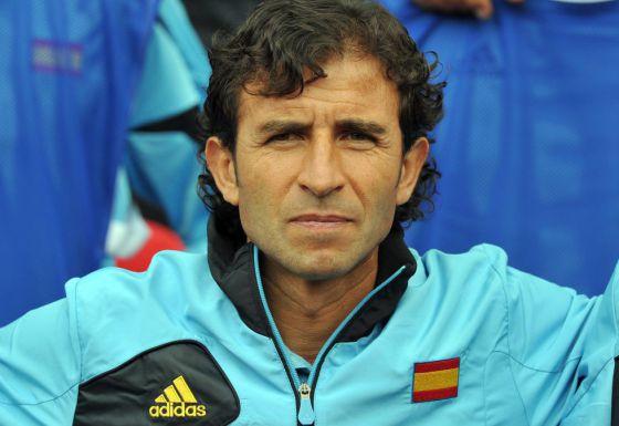 Luis Milla, antes del partido contra Marruecos en los Juegos.
