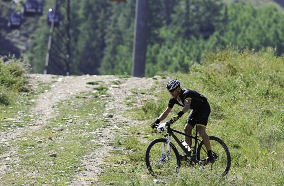 Armstrong, en una competición de mountain bike en Aspen (Colorado).