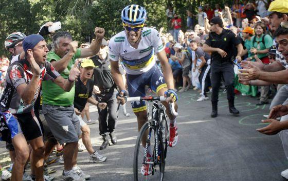 Contador, en la subida al Puerto de de Ancares.