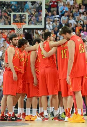 Los jugadores españoles, tras caer frente a Estados Unidos.
