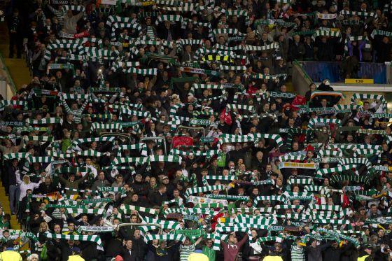 La grada de Celtic Park ante el Barcelona.