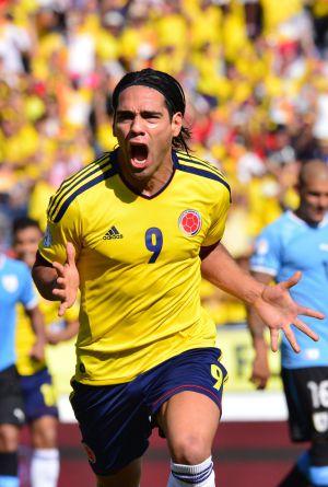 Falcao celebra un gol a Uruguay con la selección colombiana.