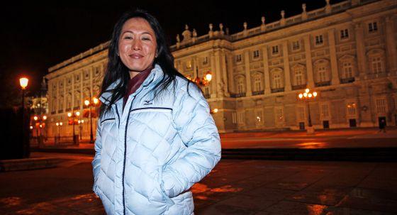 Wang Junxia, el lunes en el Palacio Real de Madrid.