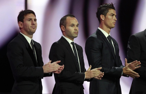 Messi, Iniesta y Cristiano, durante una gala en Mónaco.