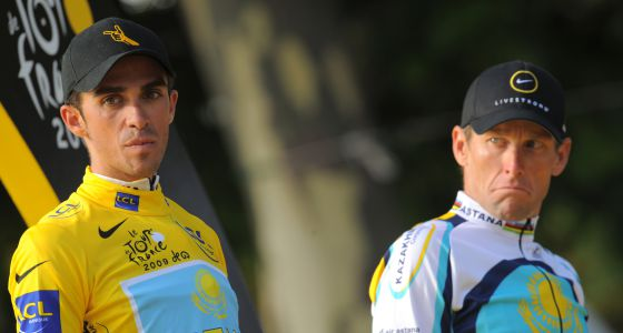 Contador y Armstrong, en el podio del Tour de 2009.