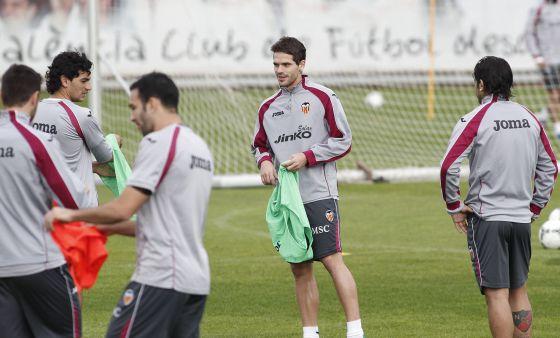 Gago, en el entrenamiento del Valencia.