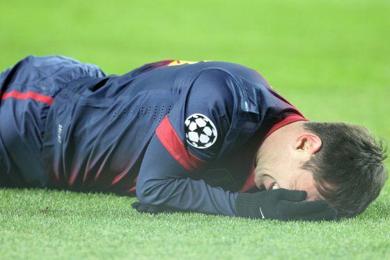 Messi, tras el golpe con Artur.