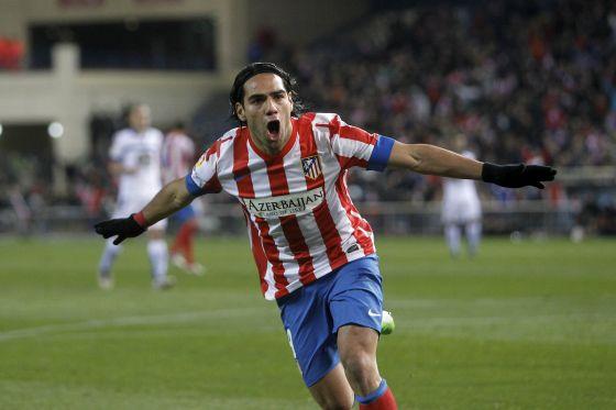 Falcao celebra su segundo gol al Deportivo, el pasado domingo